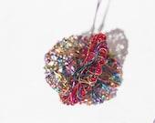 Red Disc earrings Colorful earrings Art earrings Modern statement wire earrings Geometric wire jewelry Dangle Rainbow earrings Gift for her