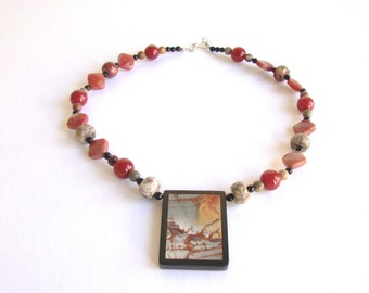 Jasper Necklace: Picture Jasper vintage beaded necklace with rectangle pendant