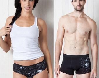 His and Hers Set - Glow-in-the-Dark Solar System Underwear Trunks Bikinis