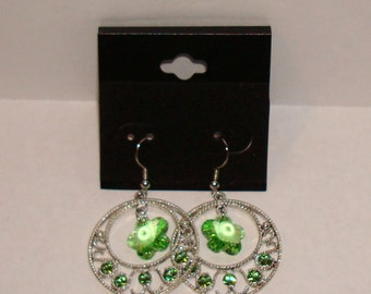"""1 -1/4"""" Dia.  Silvertone  and Pale Green Crystal Earrings"""