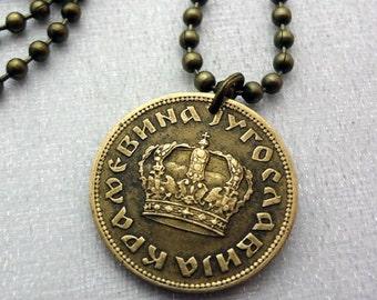 Yugoslavia necklace - Crown necklace - Yugoslavia 1 dinar crown coin - antique 1938 coin - art deco necklace - crown pendant - man necklace
