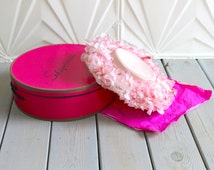 Vtg SCHIAPARELLI Pastel Hot Pink Vintage HAT BOX Floral Flowers French Room Retro Mod Mad Men Garden Party Derby Gatsby Style Downtown Abbey