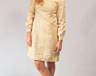 Party dress gold lame MOD mini style size XS