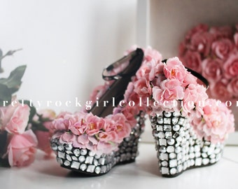 Full Coverage Floral Rhinestone  Wedge Shoes, dream wedding shoes, red wedding shoes, bridal shoes, prom shoes
