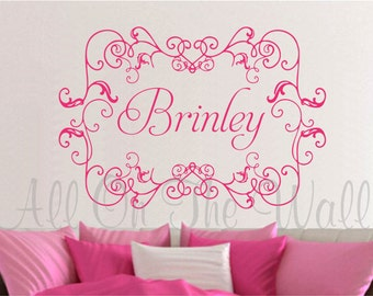 Wall Decal Baby Girl Nursery Monogram Name Vinyl Lettering Shabby Chic Wall Stickers