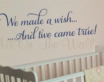 Twins Nursery Saying Wall Decal Vinyl Lettering Baby Girl Baby Boy Decor Sticker