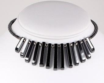 Hematite Choker Necklace Dark Gray Stone Fringe