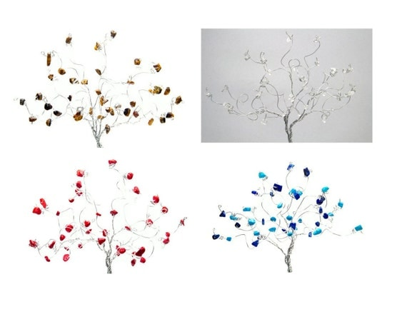 Set of Four Wire Tree Sculptures in The Elements Earth Air Fire and Water