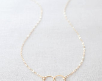Double Circle Necklace - gold connected circles necklace - gold two circle necklace - 1133