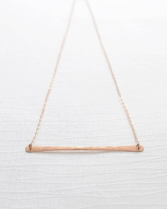 Rose Gold Hammered Bar Necklace, Rose Gold Horizontal Bar Necklace, Handmade Rose Gold Bar Necklace, Layering Bar Necklace, Olive Yew - 1123