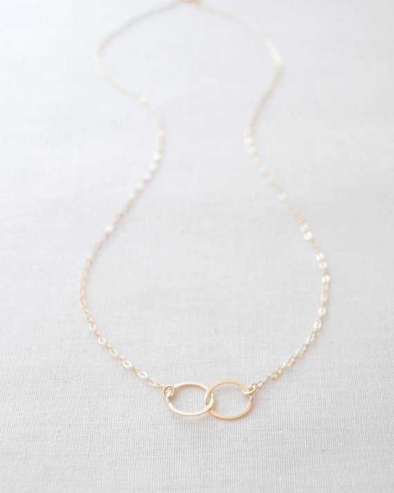 Double Circle Necklace - gold connected circles necklace - Silver two circle necklace - 1133
