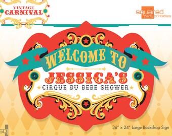 Circus Baby Shower Backdrop - Cirque du Bebe Printable Sign - DIY Print - Original Colors - Vintage Carnival Party Sign