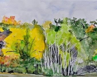 Large watercolor painting of fall trees aspen oak original artwork of a rainy day