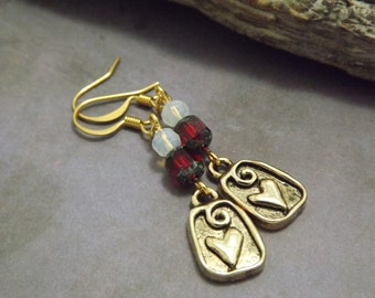Heart Antique Gold Earrings