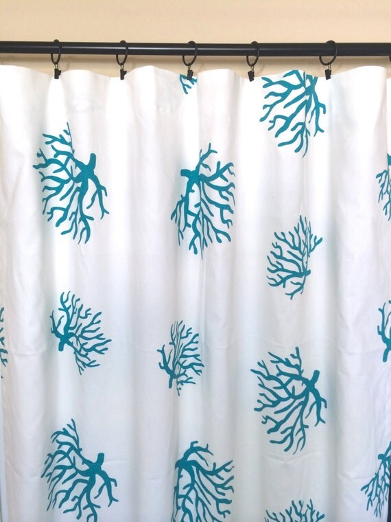 Items Similar To Turquoise Blue Curtain Panels Large Coral Pattern Beach Curtains Nautical