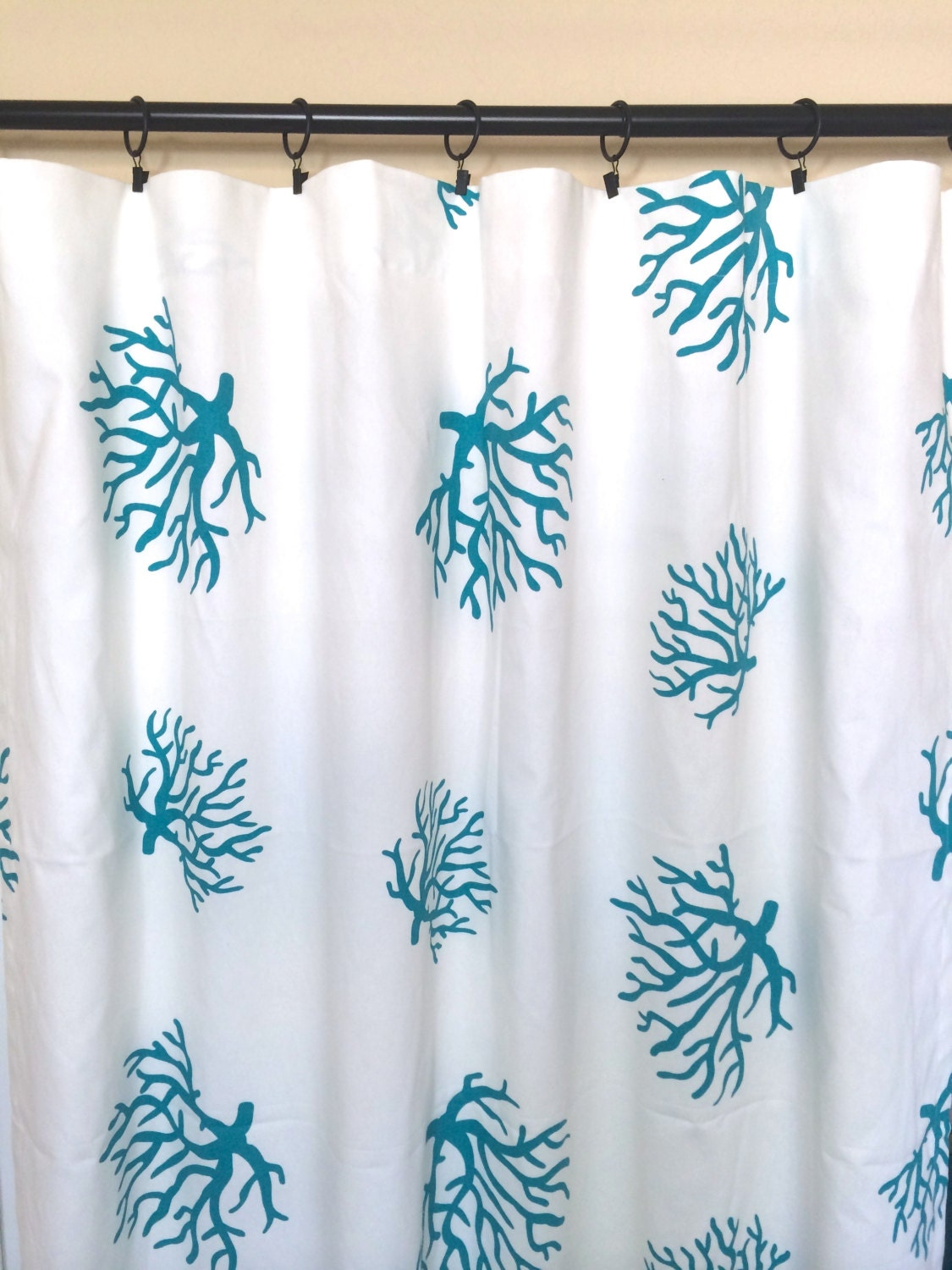 turquoise blue curtain panels large coral by thebluebirdshop