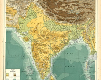 1930s Vintage Map of India and Sri Lanka,  Physical Map