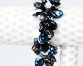 Maleficent Black, Iridescent and Soft Purple New, Vintage, Reclaimed and Upcycled Bead Cluster Charm Bracelet,Bridal Gift,Bridesmaids,Disney
