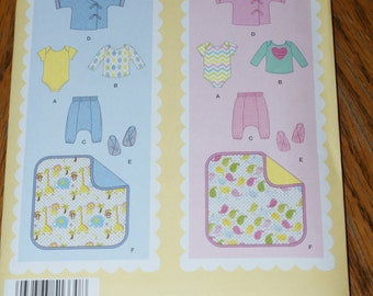 New  Simplicity  Baby Layette pattern 1330 size A xxs xs s m l