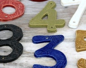 Modern House Numbers - Set of 3 - Choose Your Color - Nautical Royal Blue Rustic Red Olive Green Moss Mustard - Curb Appeal - MADE TO ORDER