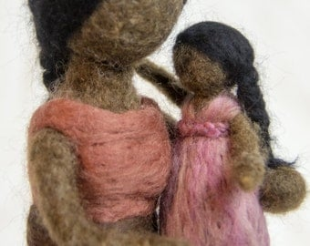 Waldorf Inspired Needle Felted Mom and Toddler