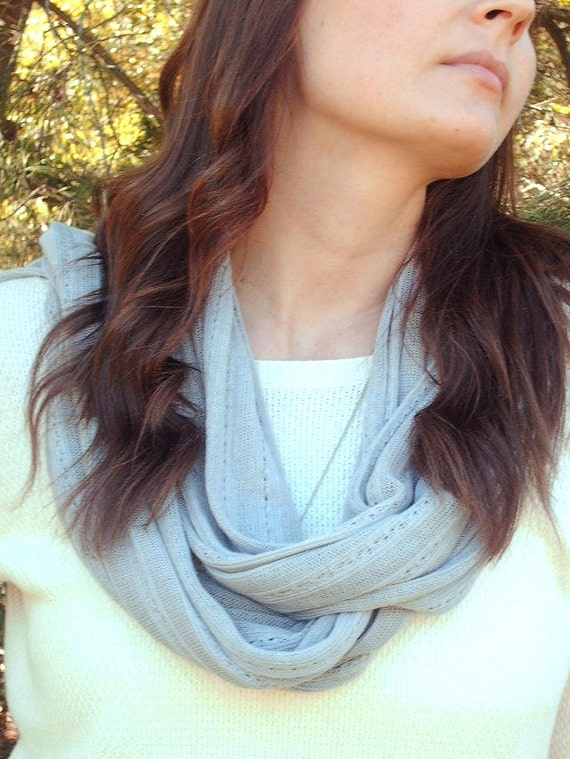 Soft Grey Knit Womens Scarf, Long, Fall and Winter Womens Scarf