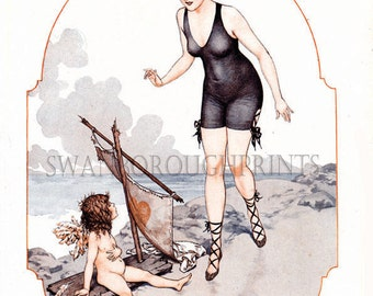 French Bathing Beauty. Coastal Decor Seaside Bathroom Print. Beach Style Bathroom Art Print. Sandy Beach Bathroom. Makeover Art Print