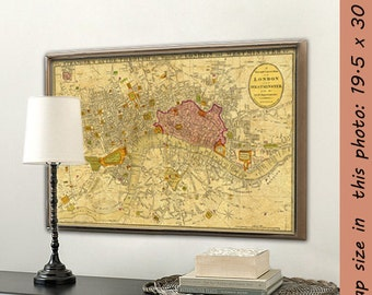 Old map of London - Historic map of London -  London map wall decor  - Giclee fine print