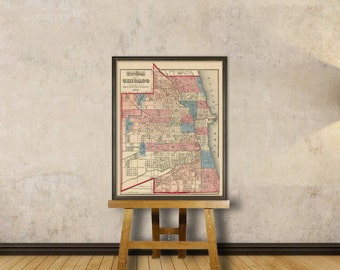 Chicago map - Vintage map of Chicago  - Old map archival reproduction