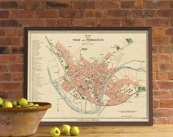 La carte de Perigueux - Old map of Périgueux - Restored maps prints