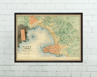 Antique map of Montevideo - Old map of Montevideo archival  reproduction