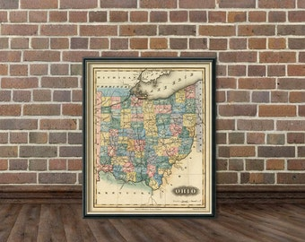 Old map of Ohio -   Fine  giclee reproduction of Ohio map