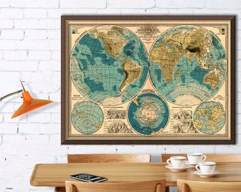 Decorative map of the world  - Old map of the world   -  Giclee print