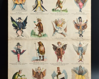 "Antique 1870 German Woodblock "" Deutsche Bilderbogen "" Nr. 47 Picture Print Sheet Woodblock Hand Colored"
