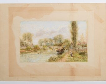 In the manner of; Myles Birket FOSTER (1825-1899) BF monogrammed English Watercolor Landscape Painting