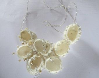 Silk Cocoon Necklace Jewelry art  Valentine Mothersday White bride bridesmaids wedding textielfestival
