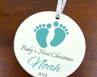 Baby's First Christmas - Baby Footprint -  Personalized Porcelain newborn Holiday Ornament - orn480 - Peachwik -  Custom New Baby Ornament