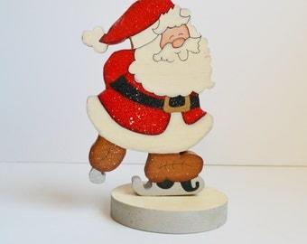 Vintage Wooden Santa Claus Painted Santa Claus Ice Skating Santa Christmas Decoration Holiday Décor Holiday Decorations Table Top Decor