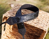 Sequin Camera Strap- Black Black