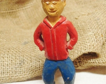 Vintage Hand Carved/Hand Painted Wooden Man