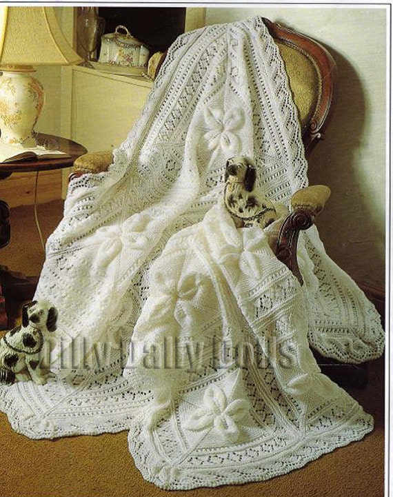 Baby Shawl and Cot Blanket knitting pattern approx 50 inches