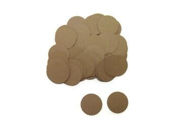 "Kraft Scalloped Circle Punch 1"" (100) Confetti Tag Die Cut Embellishment"