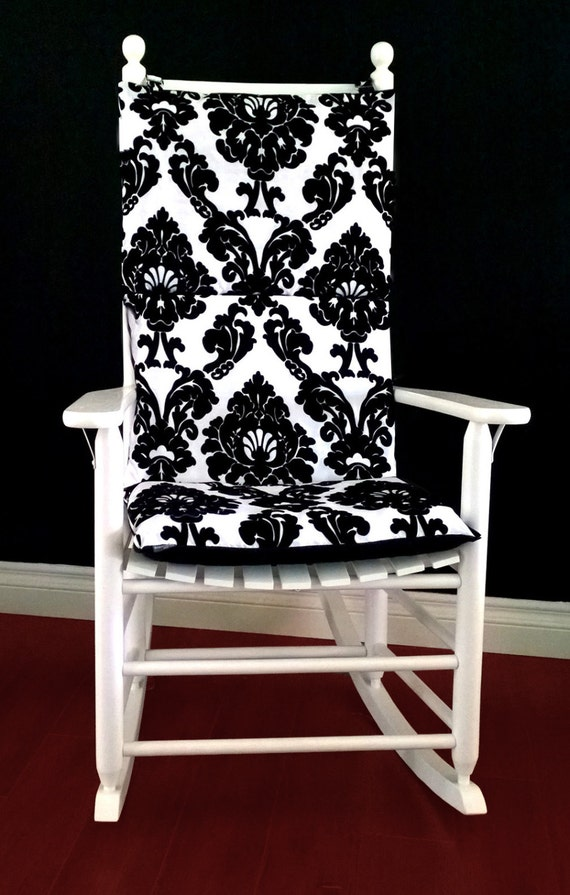 on sale rocking chair cushion cover dior black white flocked. Black Bedroom Furniture Sets. Home Design Ideas
