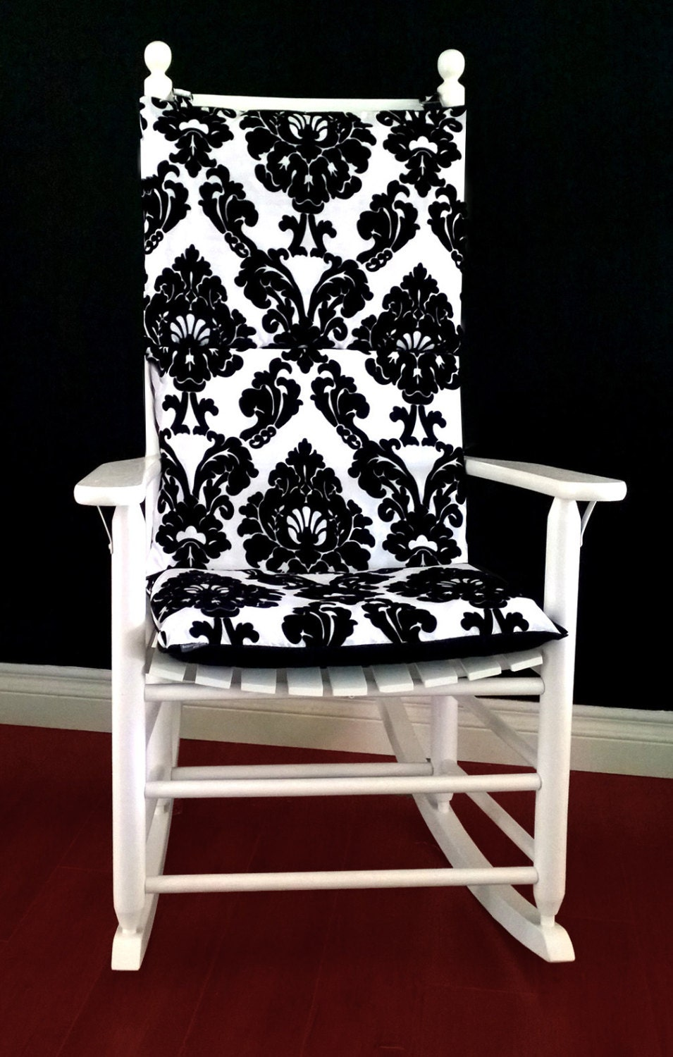 ON SALE Rocking Chair Cushion Cover Dior Black White Flocked