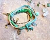 Woodland Sari Silk Wrap bracelet. Multiway 3 in 1 Bohemian Necklace Bracelet Anklet. Woodland jewelry. Boho jewelry. Wolf Green bracelet