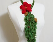 Unique Crochet Holiday Red Poinsettia Flower Lariat, Crochet Poinsettia Flower