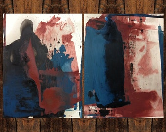 Original abstract painting oil on paper