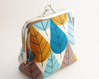 Snap Frame Purse, Small Canvas Purse, Large Coin Purse, Organic Fabric, Forest Leaves