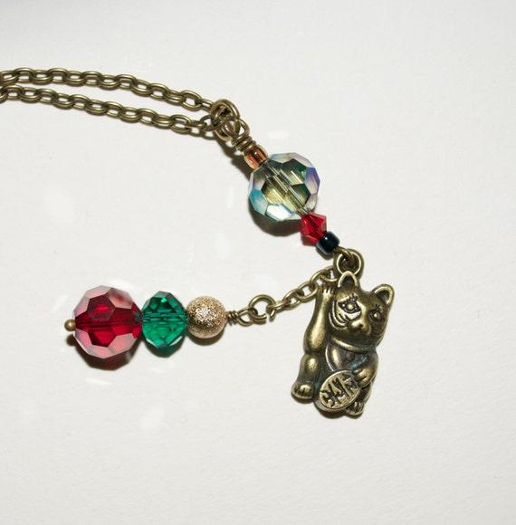 Maneki-neko Necklace, Lucky Cat Necklace, Japanese Lucky Cat Charm Necklace, Waving Cat Necklace, Quirky Jewelry, Lucky Waving Cat Charm
