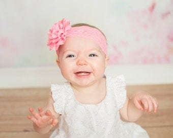 Pink Baby Headband - Baby Pink Eyelet Flower and Lace Headband - Photo Prop - Newborn - Off White - Flower Girl
